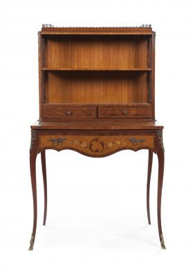 A Louis XV Style Satinwood, Parquetry And Marquetry