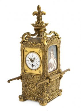 A French Gilt Bronze Table Clock, Height 11 1/4 Inc