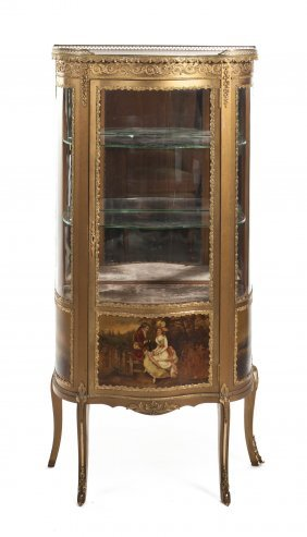 A Louis XVI Style Gilt Metal And Vernis Martin Deco