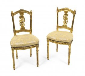 A Pair Of Louis XVI Style Giltwood Side Chairs, Hei