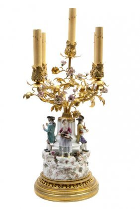 A French Gilt Bronze And Porcelain Mounted Five-Lig