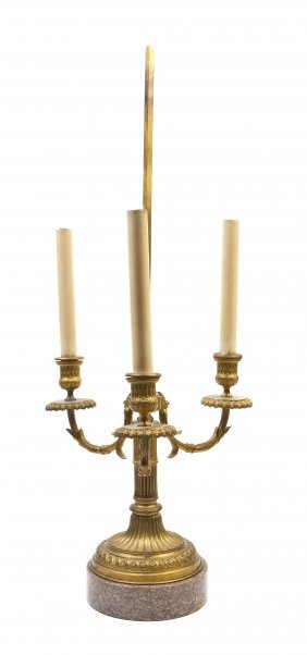 A Louis XVI Style Gilt Bronze Three-Light Bouillot