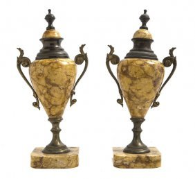 A Pair Of Gilt Metal Mounted Sienna Marble Urns, H