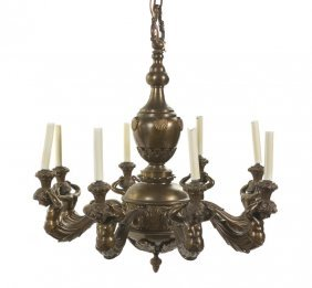 A Louis XVI Style Gilt Bronze Eight-Light Chandeli