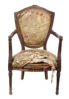A Louis XVI Style Shield Back Fauteuil, Height 39