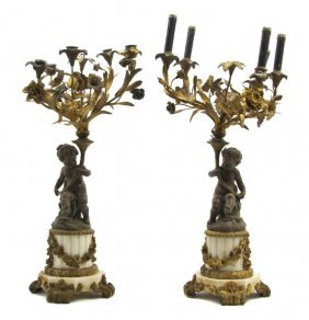 A Pair Of Continental Gilt Metal And Alabaster Fiv