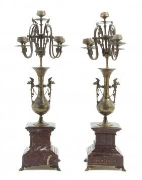A Pair Of Neoclassical Bronze And Marble Five-Ligh