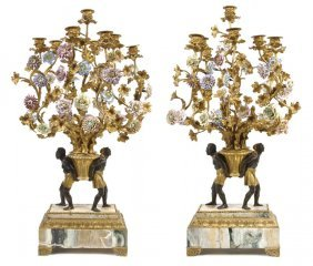 A Pair Of French Gilt And Patinated Bronze Porcela