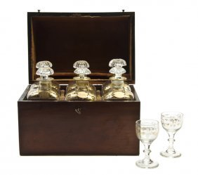 A Continental Mahogany Cased Drinks Set, Height Of