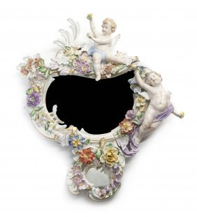 A Continental Porcelain Mirror, Height 19 3/4 Inch