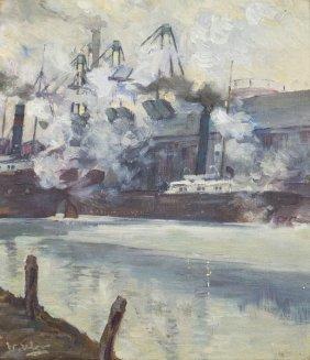 Walter Ufer, (American, 1876-1936), Steam Ships In