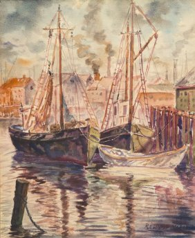 Reginald Marsh, (American, 1898-1954), Boats In Th