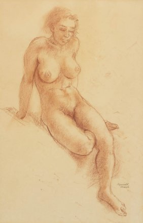 Reginald Marsh, (American, 1898-1954), Seated Nude