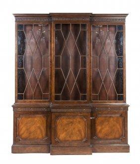 A Regency Style Breakfront Bookcase, Height 85 X
