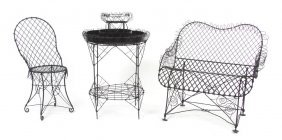 A Group Of Wire Garden Furniture, Width Of Widest