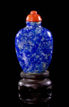 A Lapis Lazuli Lady's Snuff Bottle, Height 1 7/8