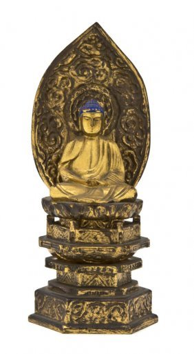A Japanese Giltwood Figure Of Buddha, Height 8 1/