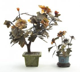 Two Chinese Hardstone Models Of Flowering Plants,