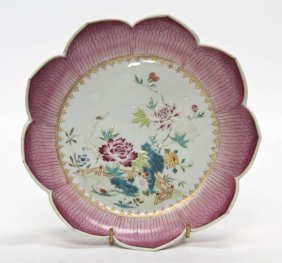 A Chinese Export Porcelain Lotus Form Dish, Diame