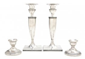 Two Pairs Of American Sterling Silver Candlestick