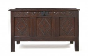 An English Carved Oak Coffer, Height 31 X Width 50