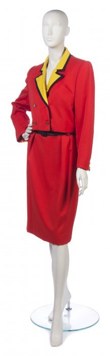 A Bill Blass Color Block Skirt Suit, Size 12.