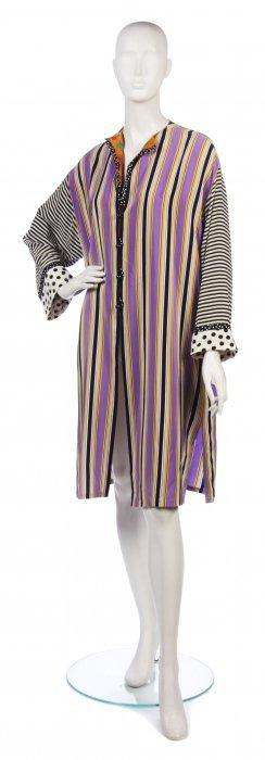 A Bill Blass Multicolor Stripe Silk Tunic, Size 10.