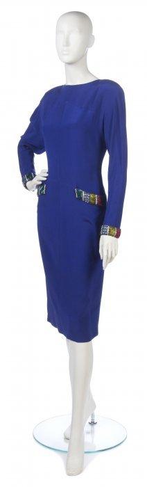 A Chloe Royal Blue Silk Dress,