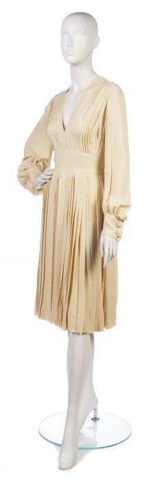 A Christian Dior Couture Cream Silk Dress, Size 10.