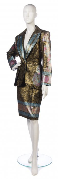 A Christian Lacroix Multicolor Painted Faux Leather
