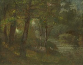 George Inness, (American, 1825-1894), The Brook, C.