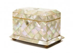 A Mother-of-Pearl Veneered Table Casket, Height 5 X