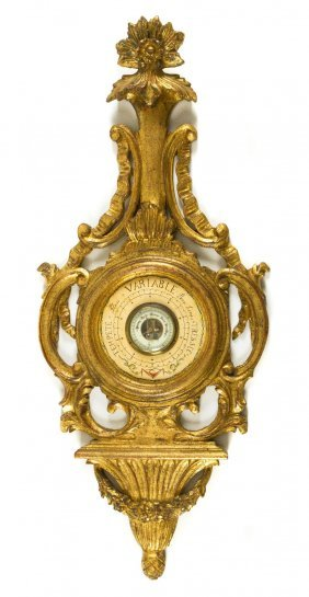 A Italian Giltwood Barometer, Height 38 1/2 Inches.
