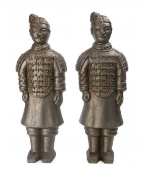 A Pair Of American Iron Figures Depicting Chinese T