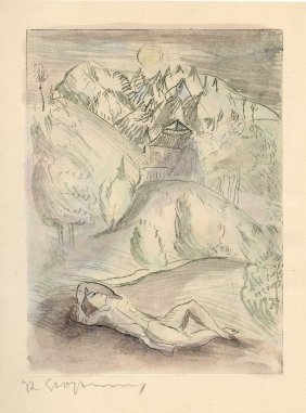 An Den Mond - Goethe - Etching By Rudolf Grossmann -