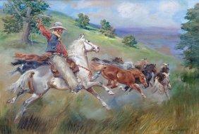 Jerzy Kossak, On The Prairie, 1939