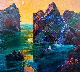 Jan Szancenbach, Norwegian Landscape With Boat, 1997 R.