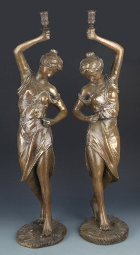 A Pair Of Western Girl Model Candlestick