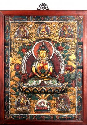 A Carved Bronze Buddha Plaque With Wooden Frame
