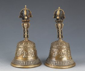A Pair Of Finely Carved Tibetan Bronze Bell