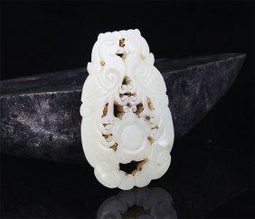 A Double Phoenix Figure Pale Celadon Jade