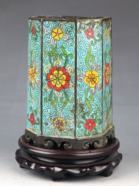 A Fine CloisonnÉ Enamel Bronze Brush Pot