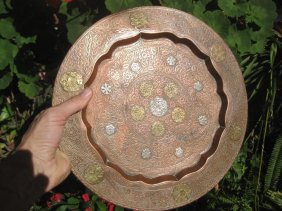 Antique Islamic Heavy Copper Plate With Gold And Silver