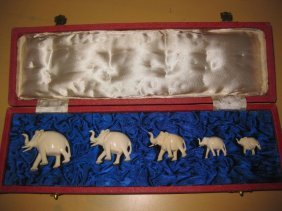 Set Of 5 Antique Chinese Carved Ivory Elephants