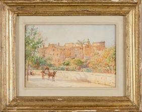 """Alberto Pisa (1864-1930) """"paese Presso"""