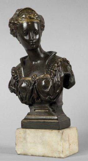 Busto Femmnile In Bronzo Sec.xix H.cm.25 Senza