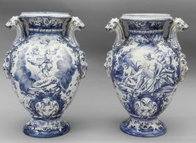 Coppia Di Grandi Idrie In Ceramica Di Savona,
