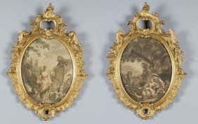 Coppia Di Cornici Di Forma Ovale In Stile Barocco