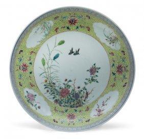 Grande Piatto In Porcellana Famiglia Rosa A Fondo