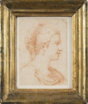 """Scuola Romana Sec.xviii """"ritratto Di Giovane Dama"""